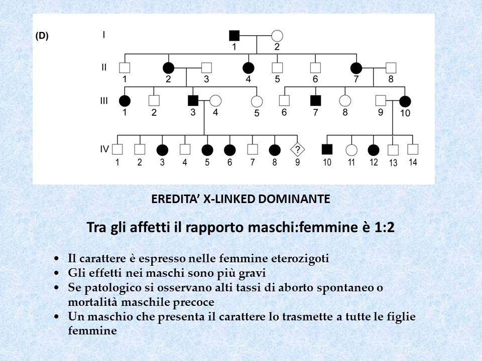 Tra gli affetti il rapporto maschi:femmine è 1:2