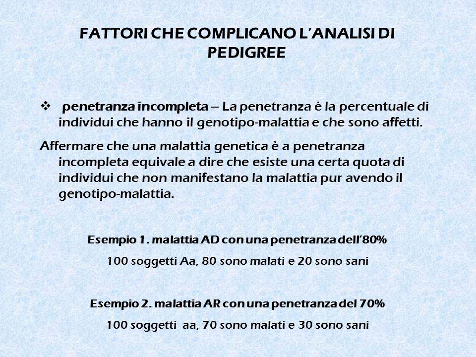 FATTORI CHE COMPLICANO L'ANALISI DI PEDIGREE