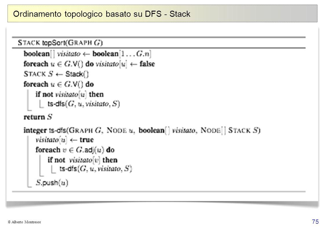 Ordinamento topologico basato su DFS - Stack