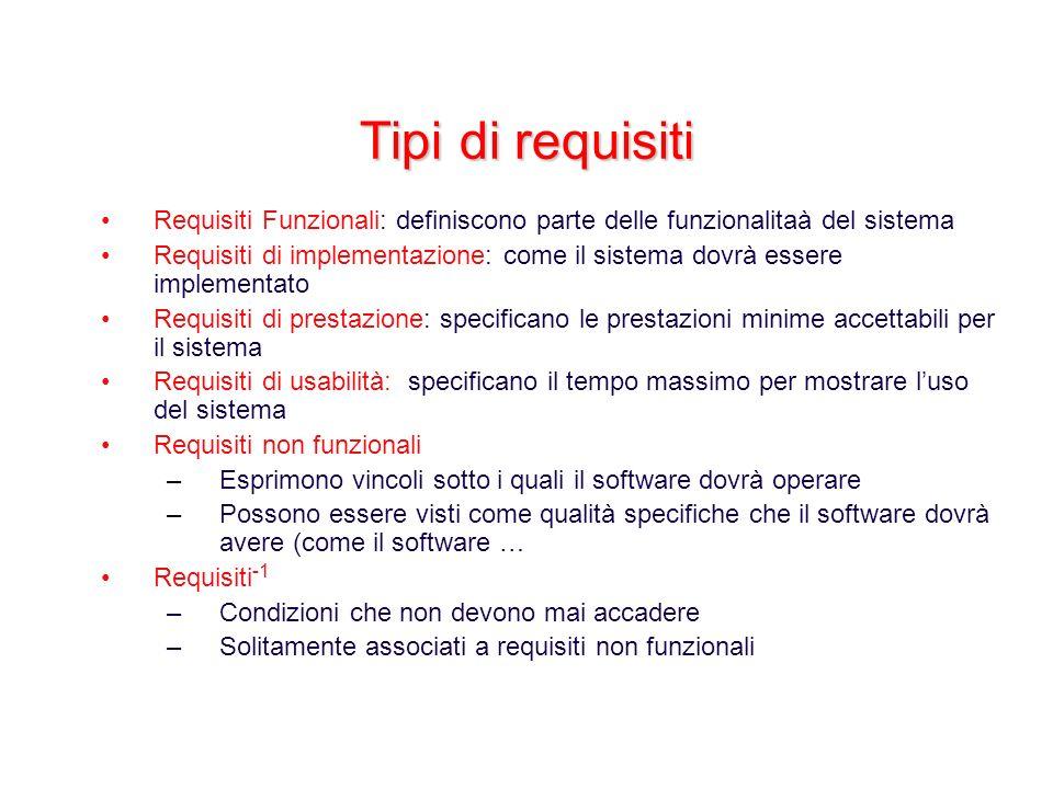 Tipi di requisiti Requisiti Funzionali: definiscono parte delle funzionalitaà del sistema.