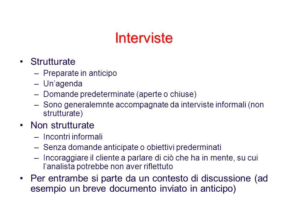 Interviste Strutturate Non strutturate