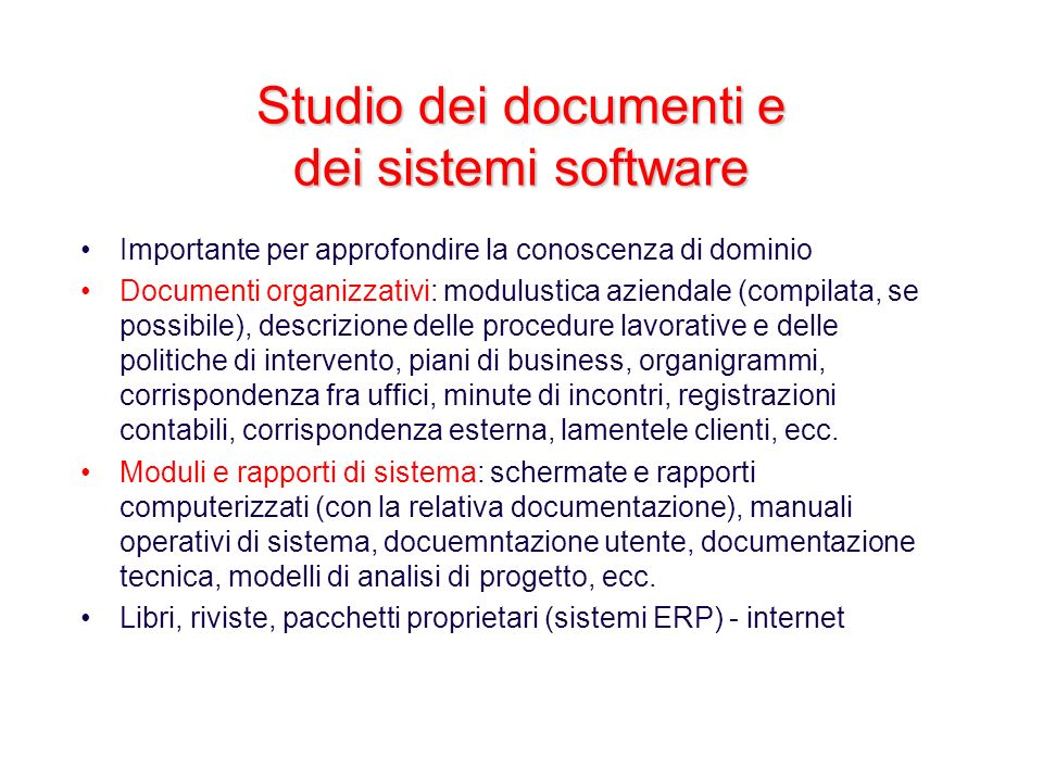 Studio dei documenti e dei sistemi software