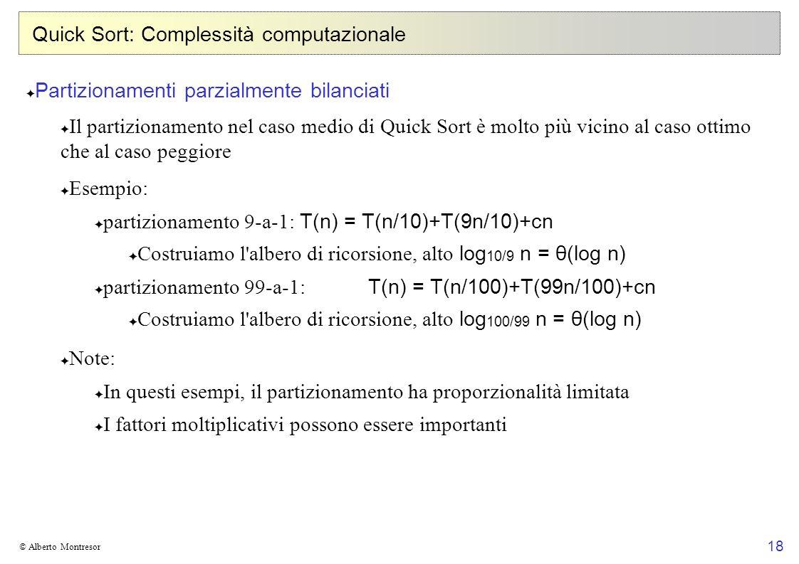 Quick Sort: Complessità computazionale