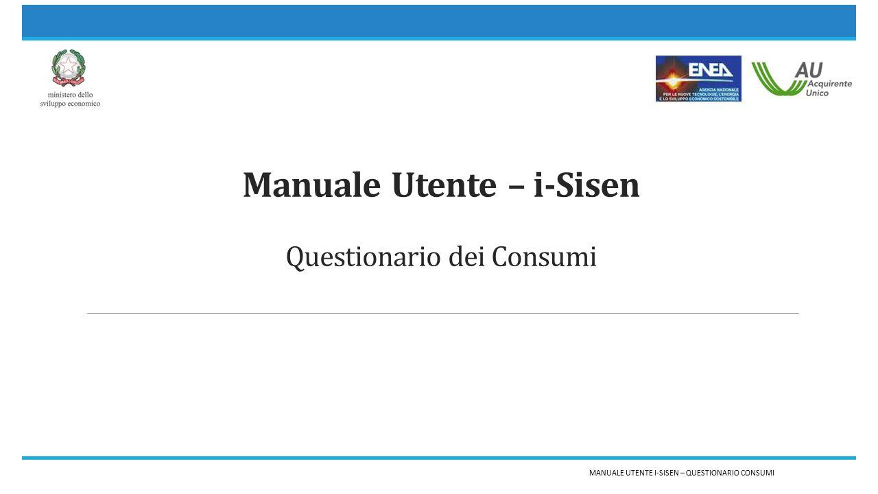 Manuale Utente – i-Sisen Questionario dei Consumi