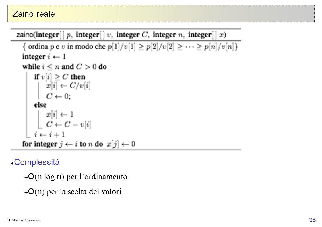 O(n log n) per l'ordinamento O(n) per la scelta dei valori