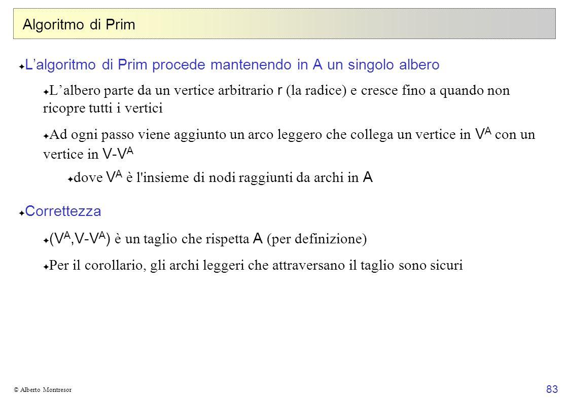 L'algoritmo di Prim procede mantenendo in A un singolo albero