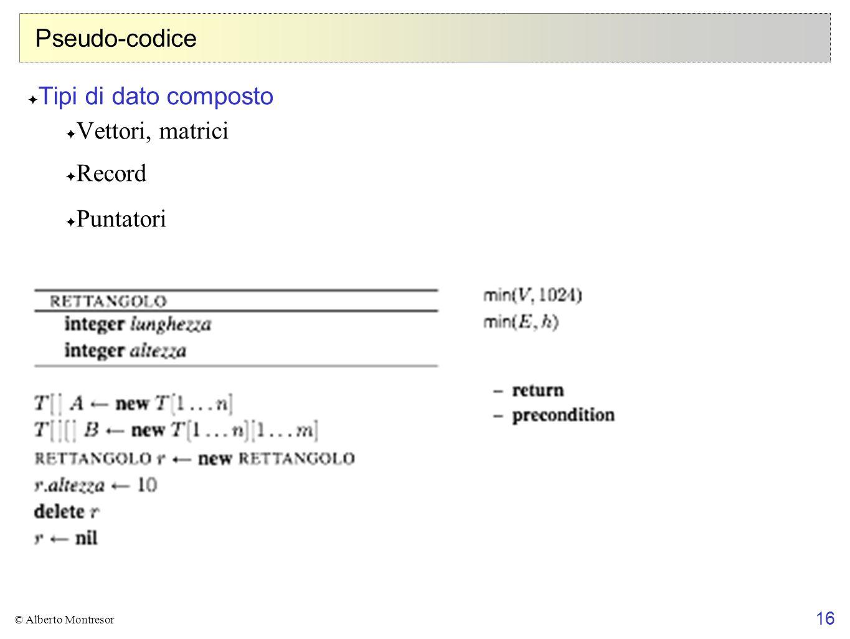 Pseudo-codice Tipi di dato composto Vettori, matrici Record Puntatori