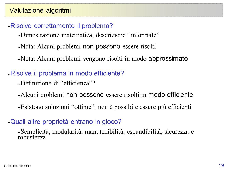 Valutazione algoritmi