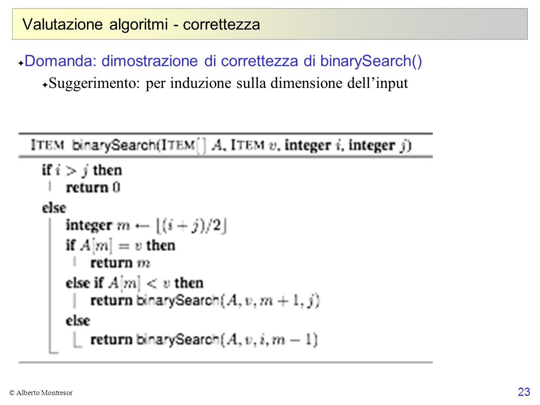 Valutazione algoritmi - correttezza