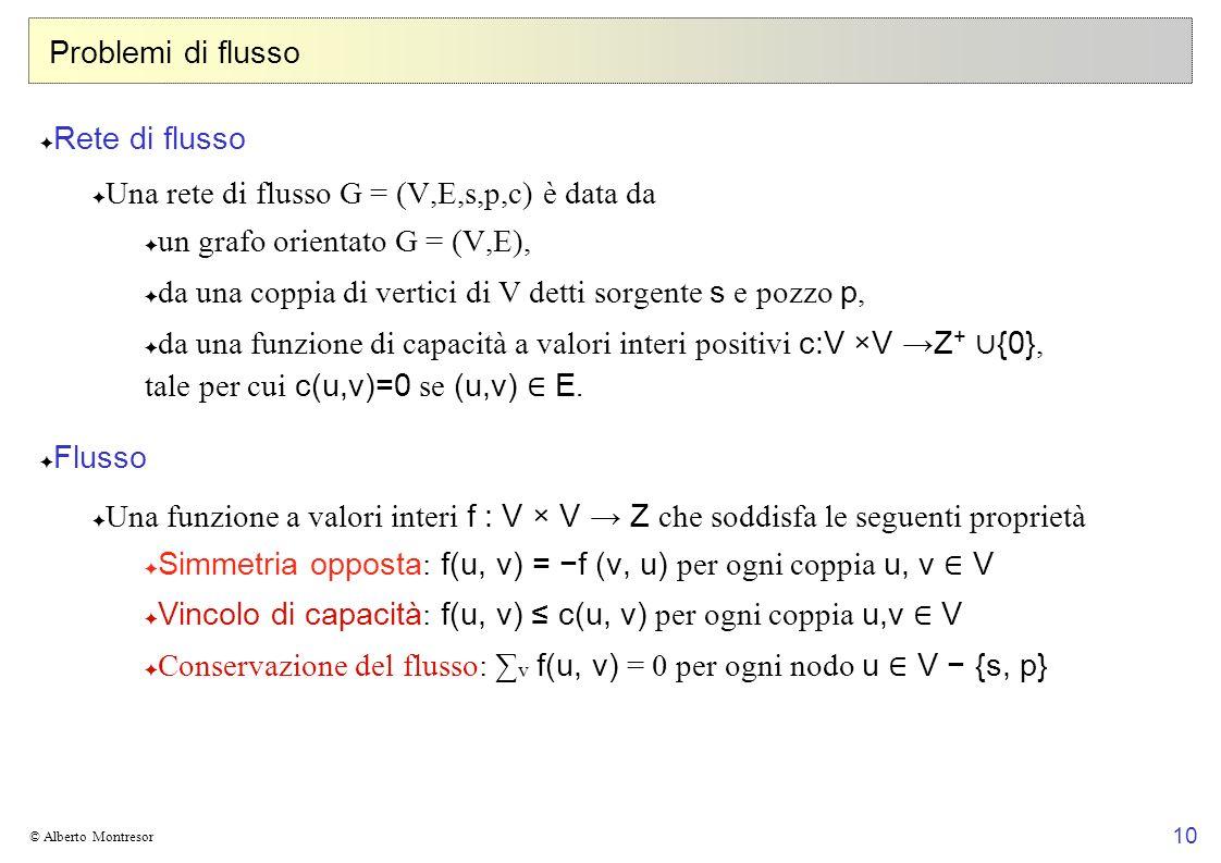 Una rete di flusso G = (V,E,s,p,c) è data da