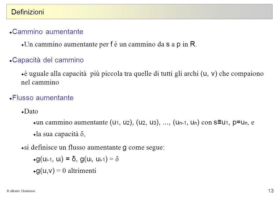 Un cammino aumentante per f è un cammino da s a p in R.