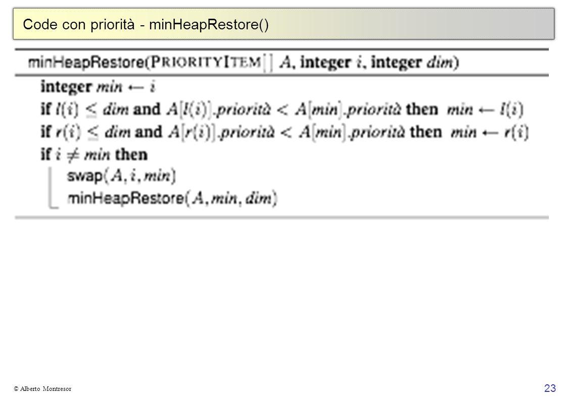 Code con priorità - minHeapRestore()