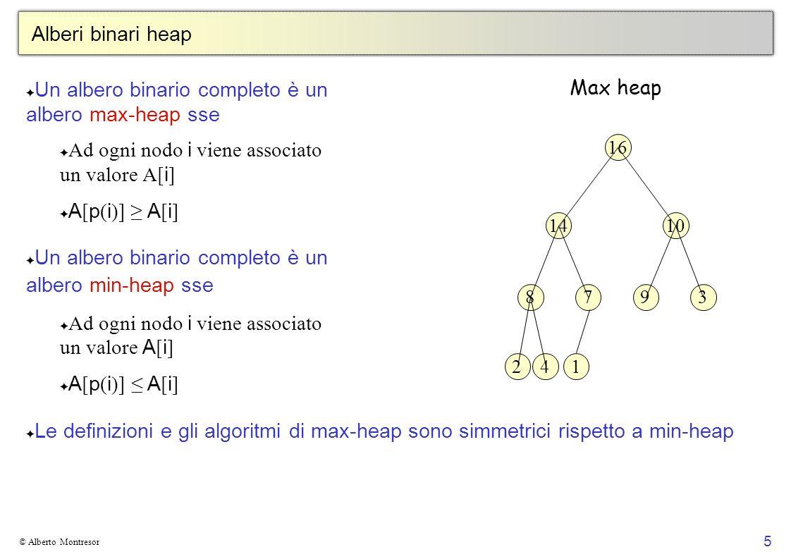 Un albero binario completo è un albero max-heap sse
