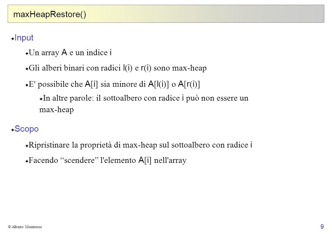 Gli alberi binari con radici l(i) e r(i) sono max-heap