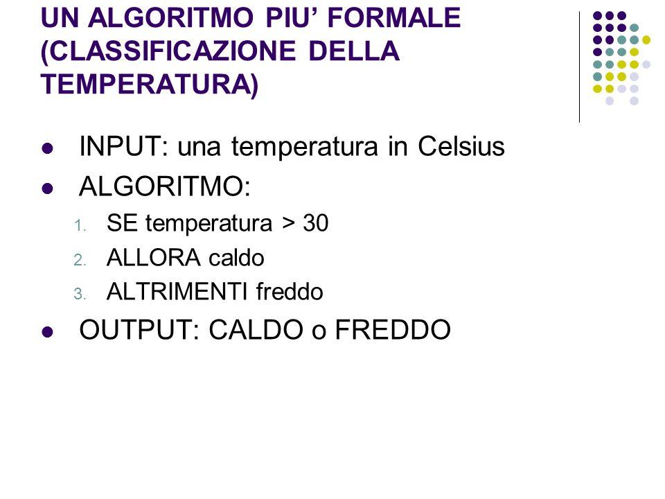 UN ALGORITMO PIU' FORMALE (CLASSIFICAZIONE DELLA TEMPERATURA)