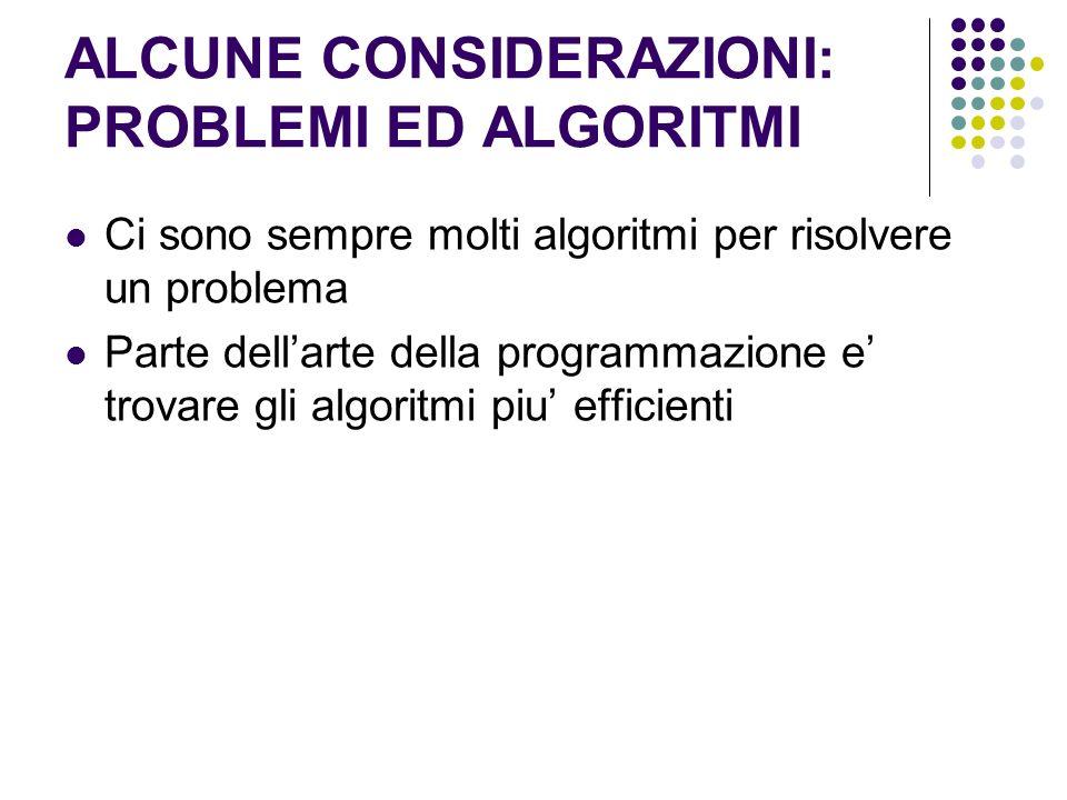 ALCUNE CONSIDERAZIONI: PROBLEMI ED ALGORITMI