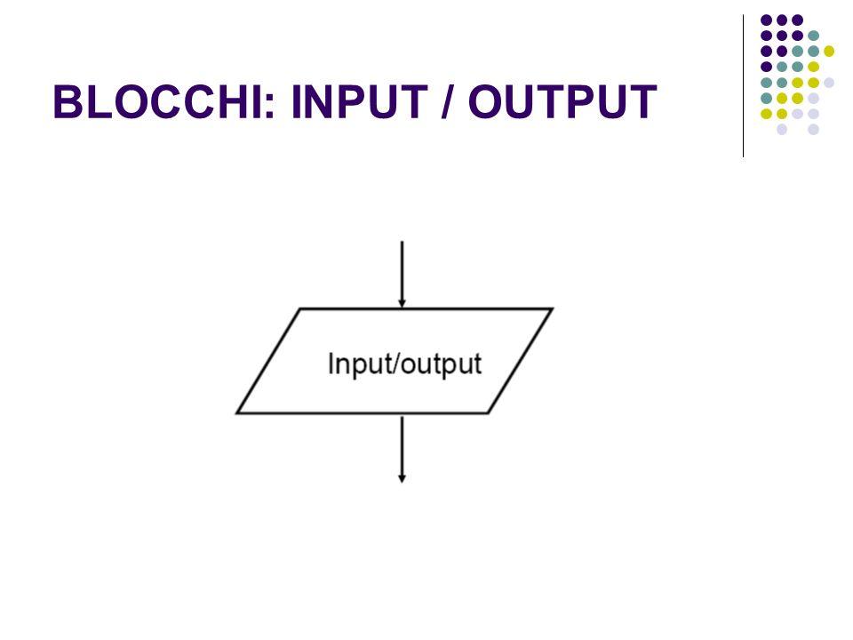 BLOCCHI: INPUT / OUTPUT