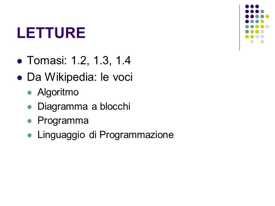 LETTURE Tomasi: 1.2, 1.3, 1.4 Da Wikipedia: le voci Algoritmo