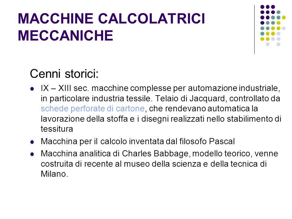 MACCHINE CALCOLATRICI MECCANICHE