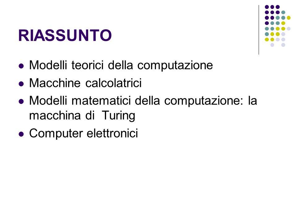 RIASSUNTO Modelli teorici della computazione Macchine calcolatrici