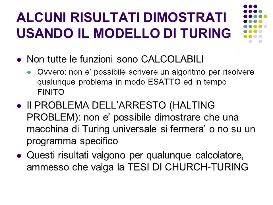 ALCUNI RISULTATI DIMOSTRATI USANDO IL MODELLO DI TURING