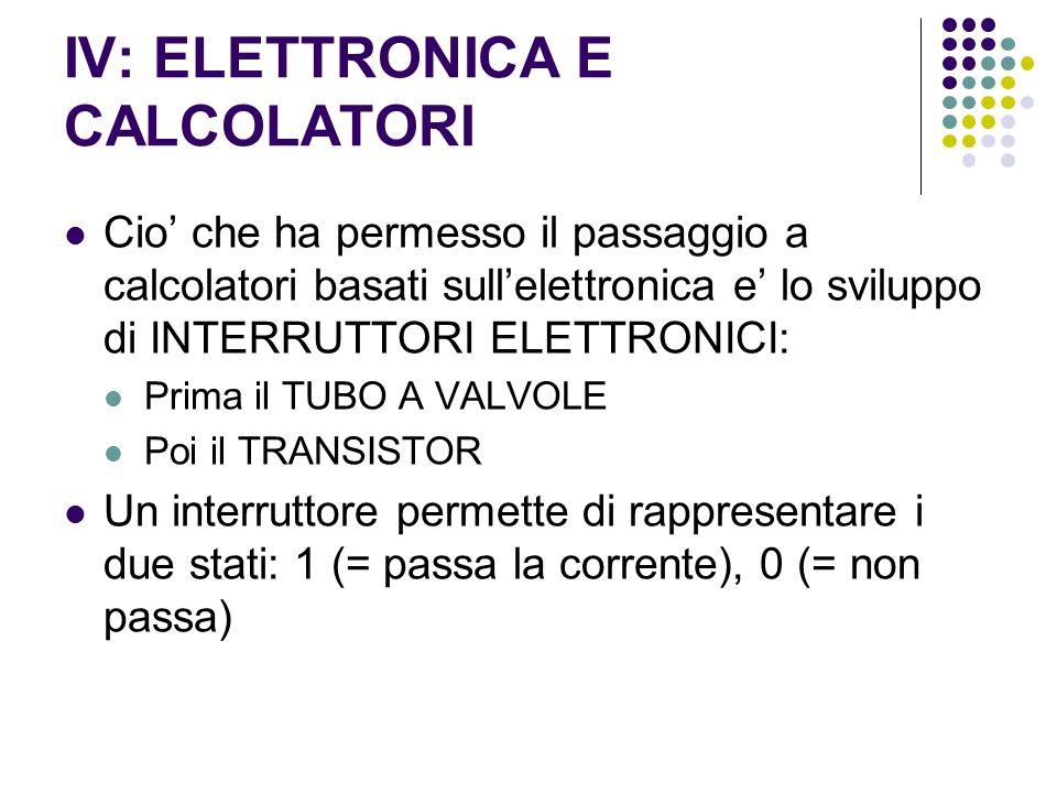 IV: ELETTRONICA E CALCOLATORI