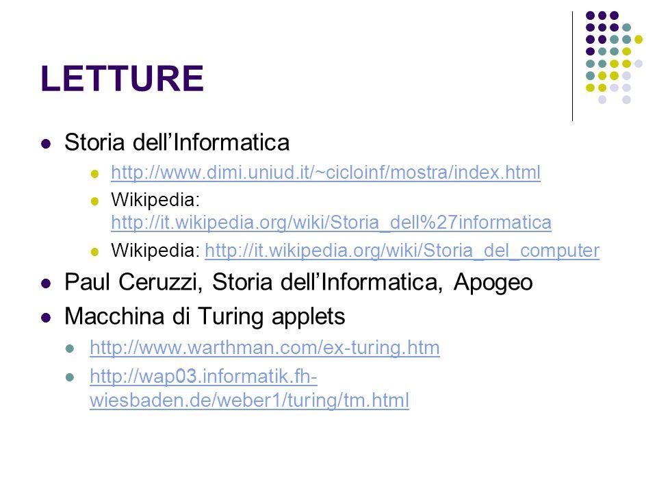 LETTURE Storia dell'Informatica