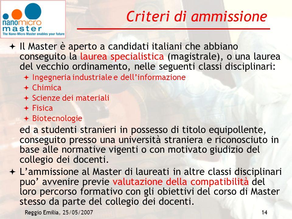 Criteri di ammissione