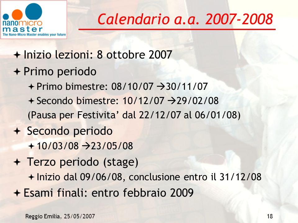 Calendario a.a. 2007-2008 Inizio lezioni: 8 ottobre 2007 Primo periodo