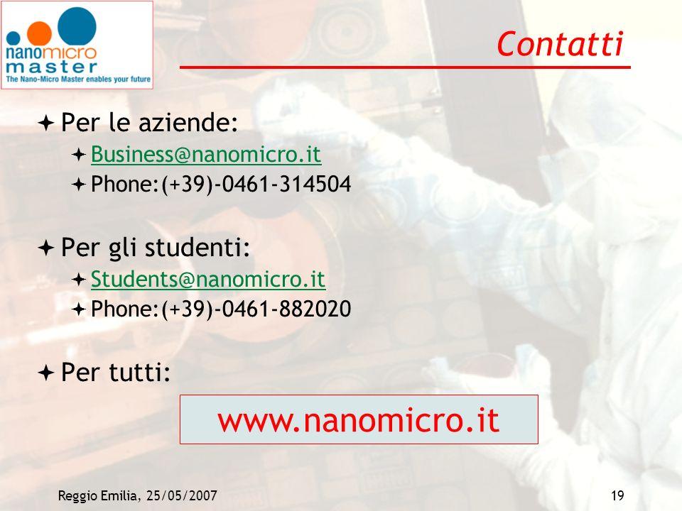 Contatti www.nanomicro.it Per le aziende: Per gli studenti: Per tutti:
