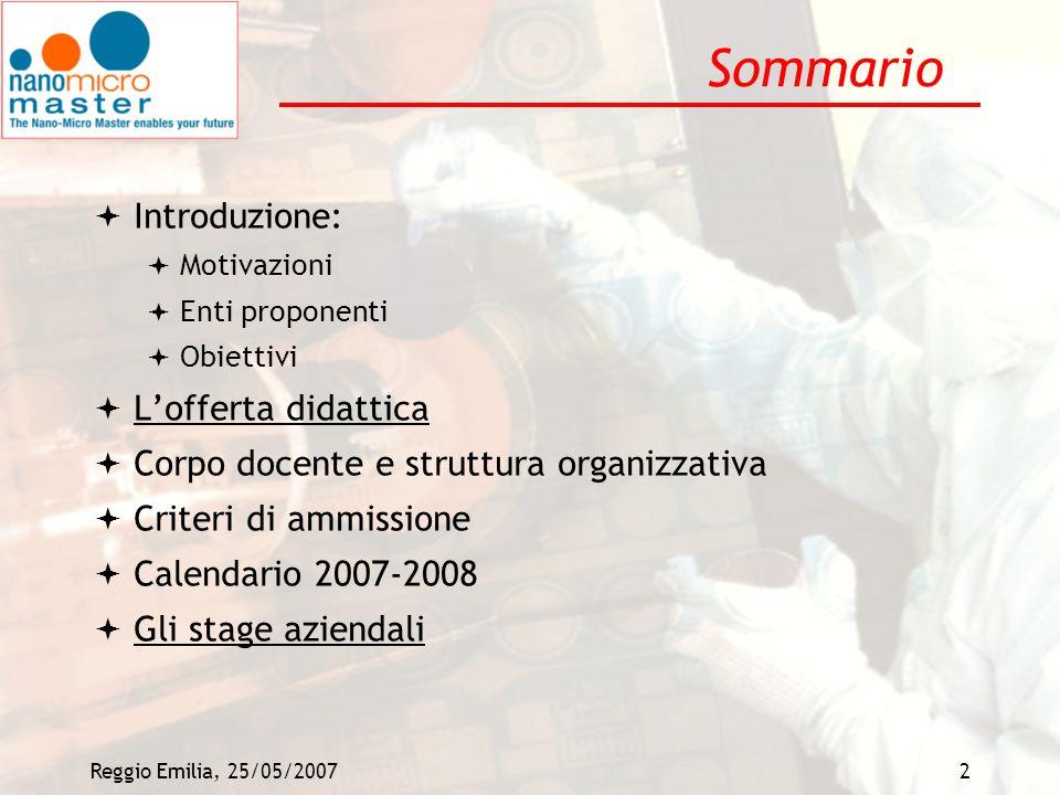 Sommario Introduzione: L'offerta didattica