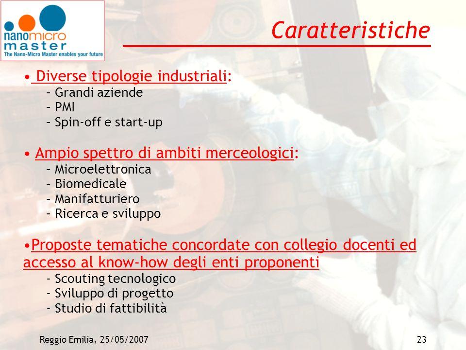 Caratteristiche Diverse tipologie industriali: