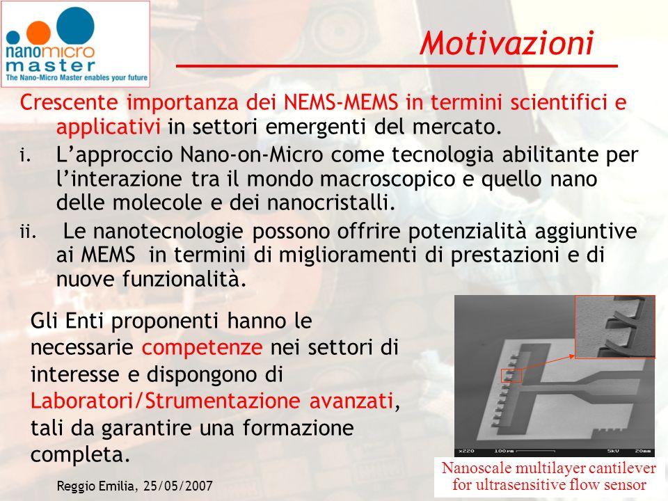 Motivazioni Crescente importanza dei NEMS-MEMS in termini scientifici e applicativi in settori emergenti del mercato.