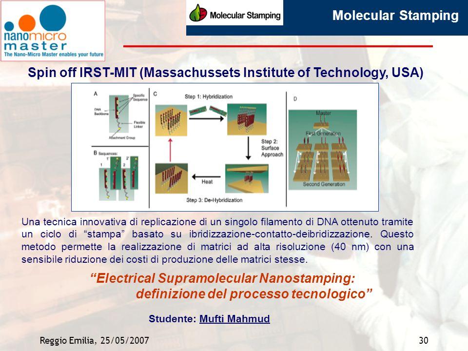 Spin off IRST-MIT (Massachussets Institute of Technology, USA)