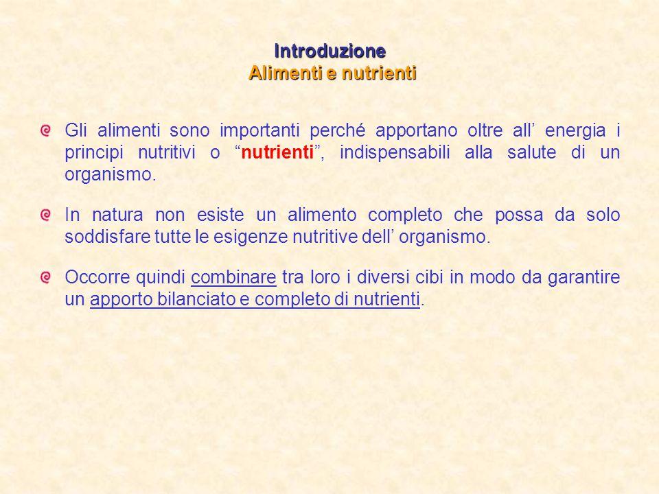 Introduzione Alimenti e nutrienti