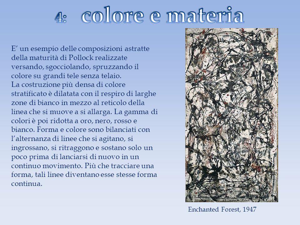E' un esempio delle composizioni astratte della maturità di Pollock realizzate versando, sgocciolando, spruzzando il colore su grandi tele senza telaio. La costruzione più densa di colore stratificato è dilatata con il respiro di larghe zone di bianco in mezzo al reticolo della linea che si muove a si allarga. La gamma di colori è poi ridotta a oro, nero, rosso e bianco. Forma e colore sono bilanciati con l'alternanza di linee che si agitano, si ingrossano, si ritraggono e sostano solo un poco prima di lanciarsi di nuovo in un continuo movimento. Più che tracciare una forma, tali linee diventano esse stesse forma continua.