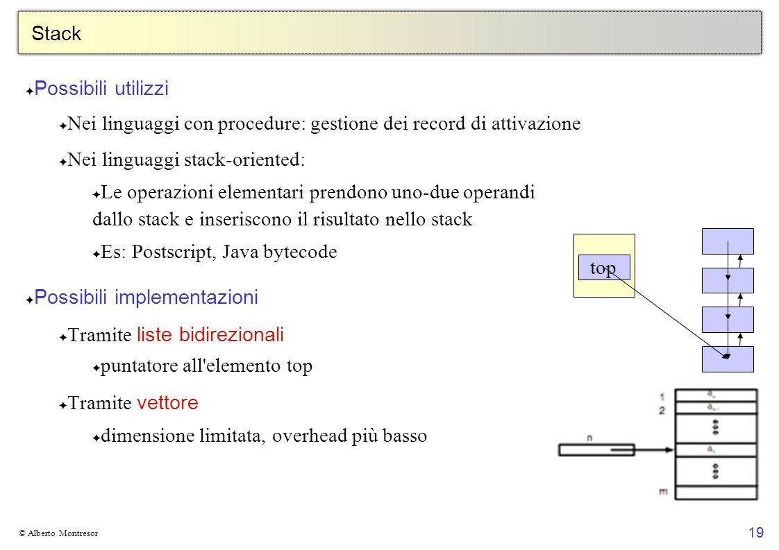 Nei linguaggi con procedure: gestione dei record di attivazione