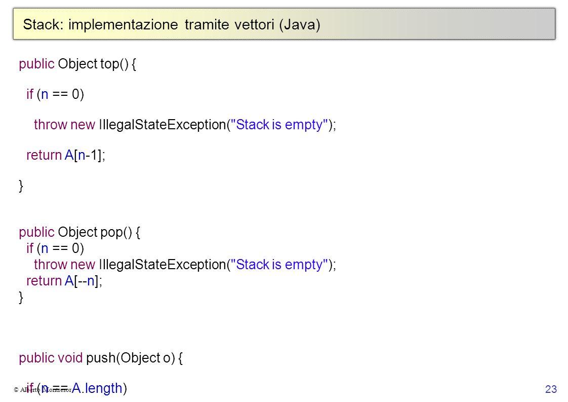 Stack: implementazione tramite vettori (Java)