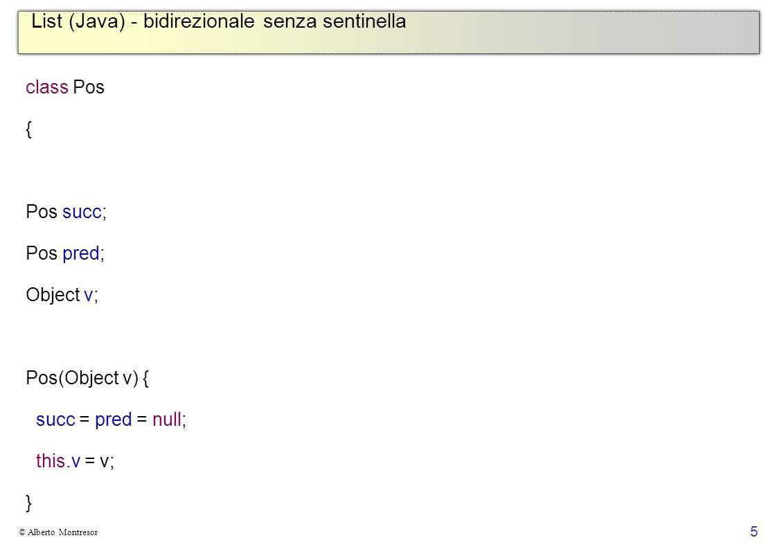List (Java) - bidirezionale senza sentinella