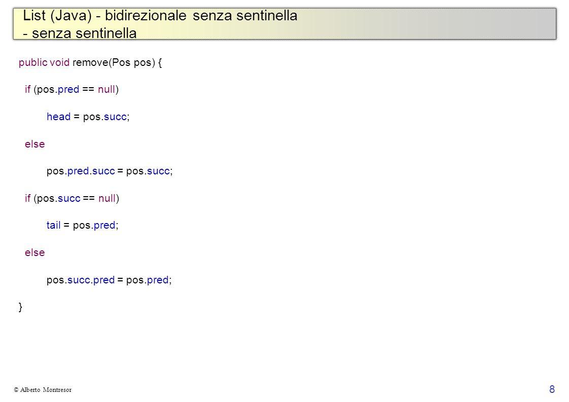 List (Java) - bidirezionale senza sentinella - senza sentinella