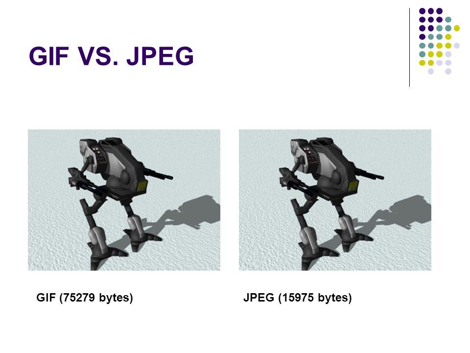 GIF VS. JPEG GIF (75279 bytes) JPEG (15975 bytes)