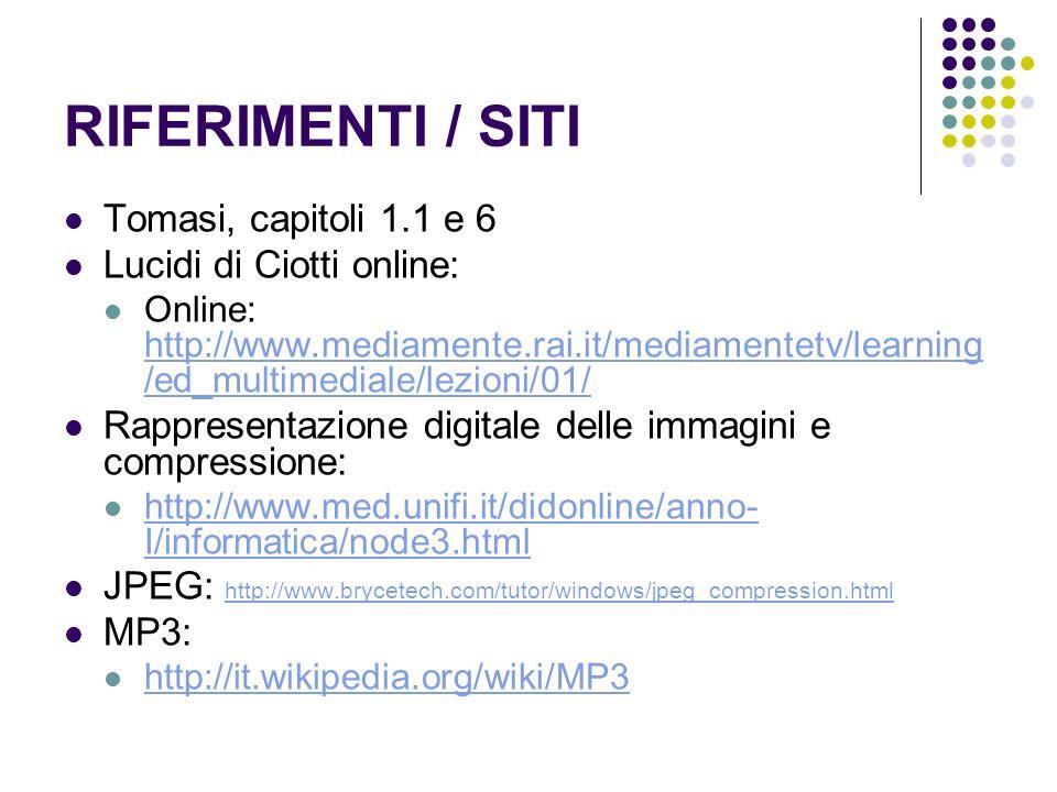 RIFERIMENTI / SITI Tomasi, capitoli 1.1 e 6 Lucidi di Ciotti online:
