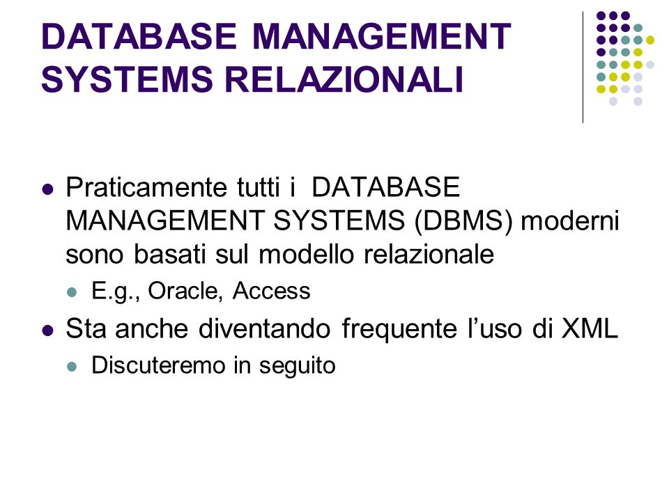 DATABASE MANAGEMENT SYSTEMS RELAZIONALI