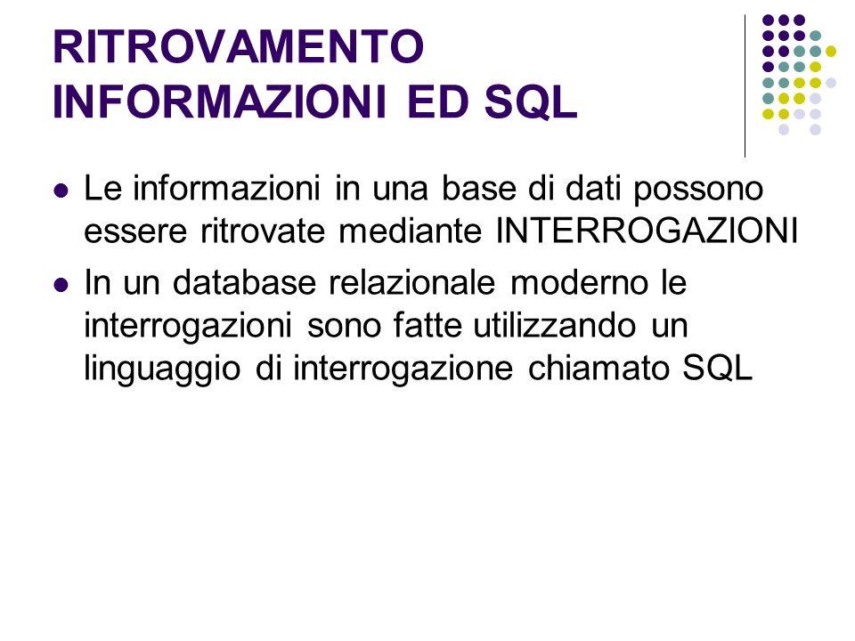 RITROVAMENTO INFORMAZIONI ED SQL