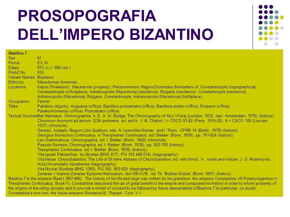 PROSOPOGRAFIA DELL'IMPERO BIZANTINO