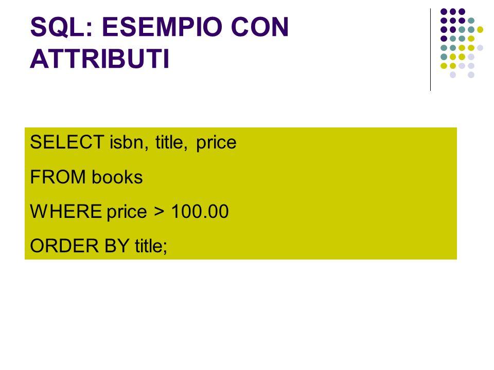 SQL: ESEMPIO CON ATTRIBUTI