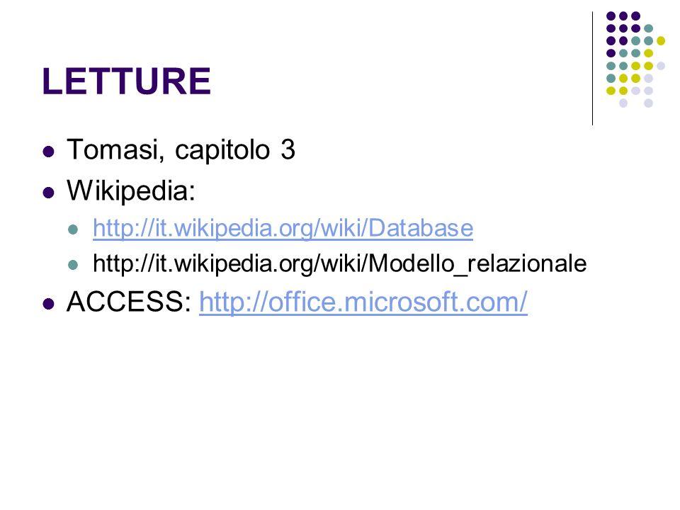LETTURE Tomasi, capitolo 3 Wikipedia: