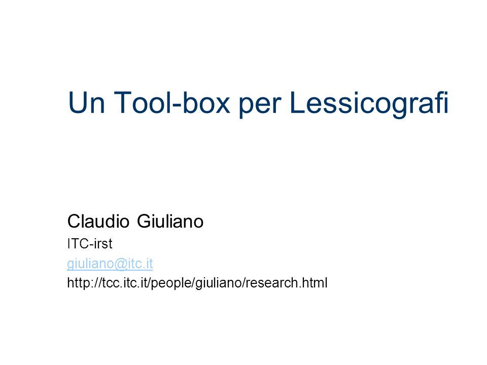 Un Tool-box per Lessicografi