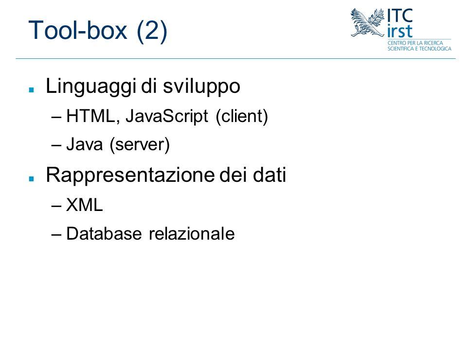 Tool-box (2) Linguaggi di sviluppo Rappresentazione dei dati