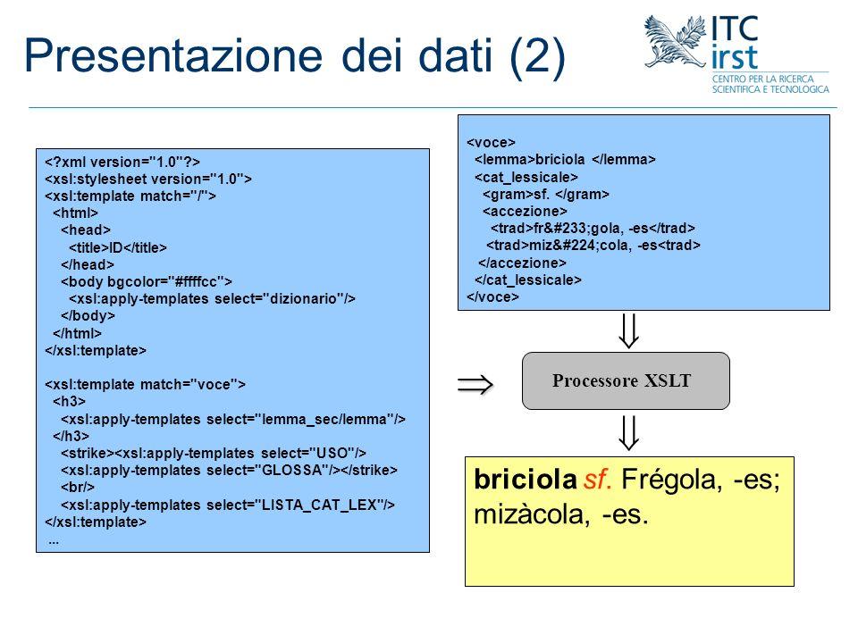 Presentazione dei dati (2)